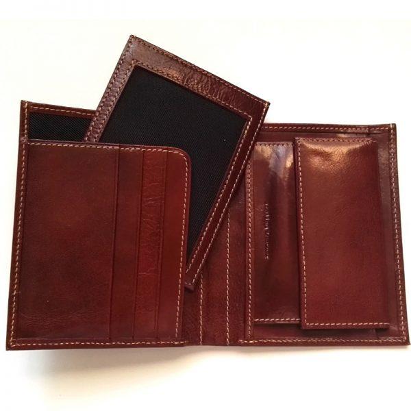 Мъжки портфейл, кожен, кафяв