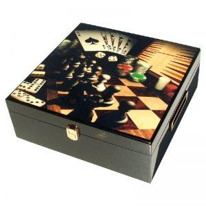 луксозен комплект шах табла домино карти