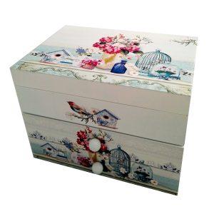 """кутия за бижута музикална""""Цветя и птици"""""""