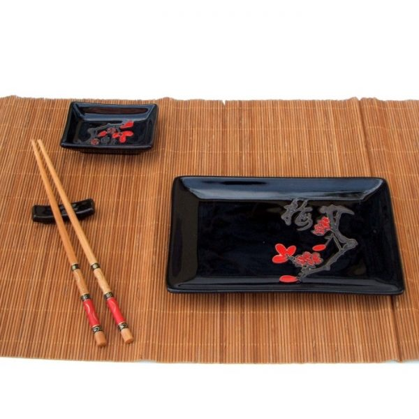 комплект за суши Японска вишна в черно