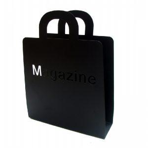 Луксозна поставка за списания, черна от метал