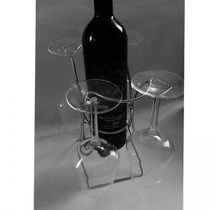 метална стойка за бутилка с чаши