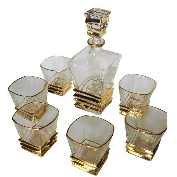комплект бутилка с чаши злато